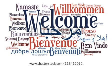Welcome phrase in different languages. Words cloud concept