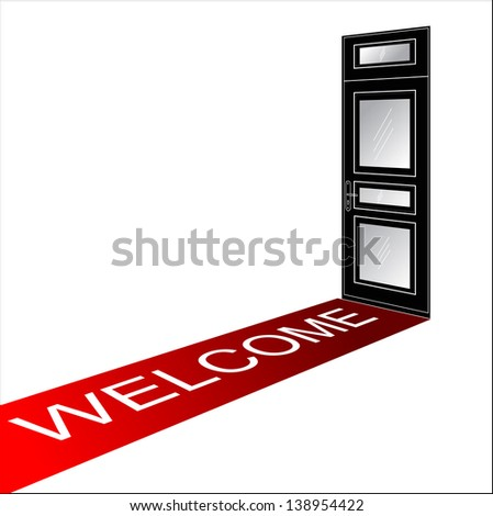 welcome red carpet - stock photo