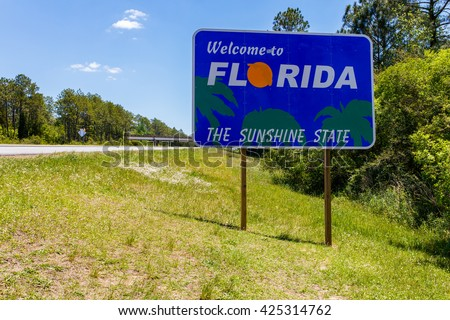 Welcome sign entering the state of Florida southbound from Georgia along Interstate 95.
