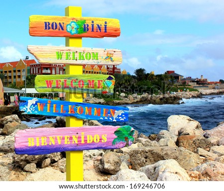 "Welcome sign in Curacao. ""Bon Bini"" means ""Welcome"" in Papiamentu on the Netherlands Antilles or Leeward Islands, Aruba, Curacao and Bonaire. - stock photo"