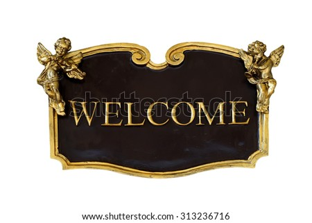 welcome sign isolated on white background
