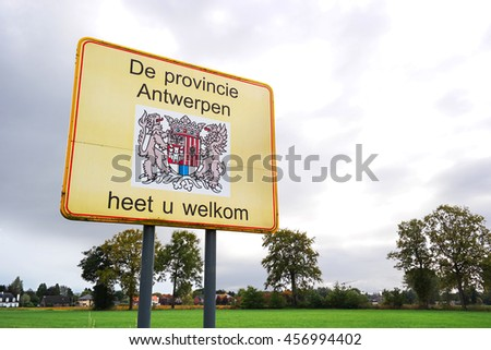 Welcome sign of provincie Antwerpen a province of Flanders, one of the three regions of Belgium. - stock photo