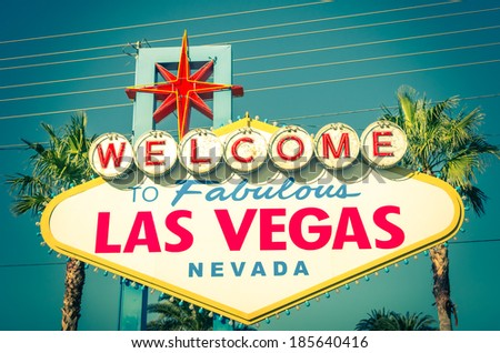 Welcome sign to Fabulous Las Vegas Nevada - The Strip Boulevard - Vintage entrance Sign   - stock photo