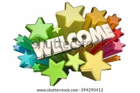 Welcome Stars Greetings Word 3D Animation - stock photo