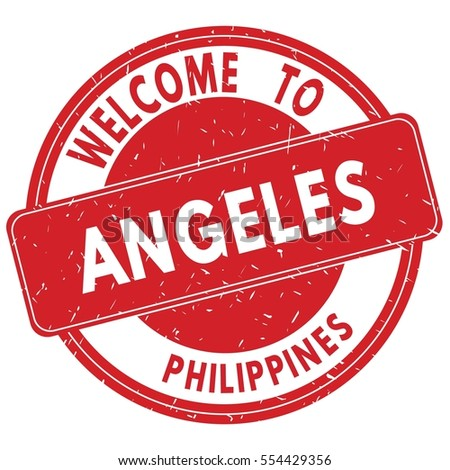 Welcome to ANGELES  PHILIPPINES stamp sign text logo red.