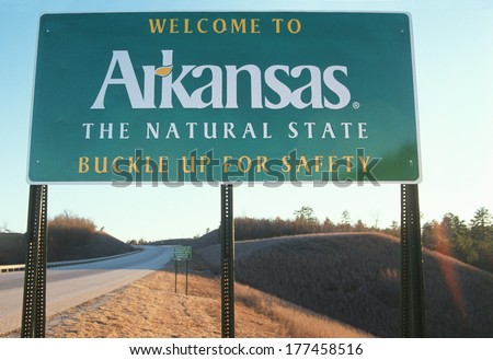 Welcome to Arkansas Sign - stock photo