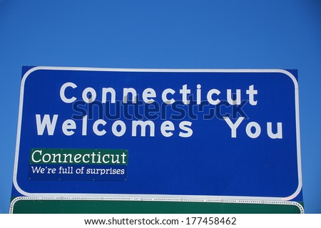 Welcome to Connecticut Sign - stock photo