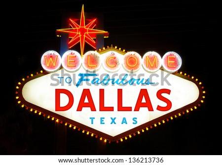 Welcome to Dallas, Texas (USA) - stock photo