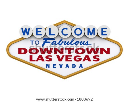 Welcome to downtown Las Vegas Sign in white background, easy to isolate. - stock photo