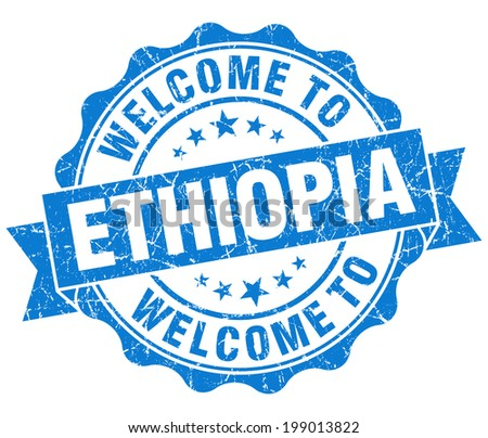 Welcome to Ethiopia blue grungy vintage isolated seal - stock photo