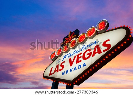 Welcome to Fabulous Las Vegas Sign At Sunset - stock photo