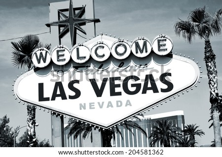 Welcome to Fabulous Las Vegas sign in black and white - stock photo