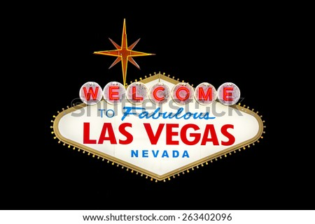 Welcome to Fabulous Las Vegas sign isolated on black - stock photo