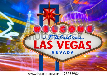 Welcome to Fabulous Las Vegas sign sunset with Strip background Nevada photo mount - stock photo