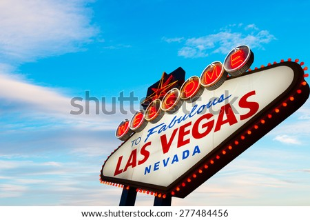 Welcome to Fabulous Las Vegas Sign With Cloudy Blue Sky
