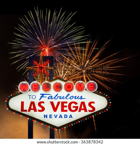 Welcome to Fabulous Las Vegas with colorful firework background - stock photo