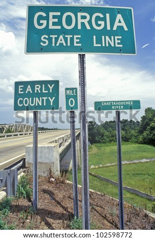 Welcome to Georgia Sign - stock photo