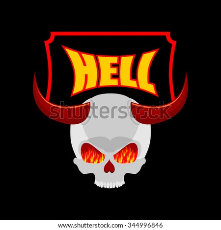 Welcome to hell. Plate for door. Satans skull with horns. In eye of skull flame of fire of purgatory. illustration of religion - stock photo