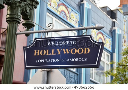 Welcome to Hollywood road sign on street