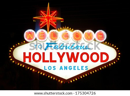 Welcome to Hollywood sign - stock photo