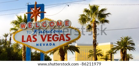 Welcome to Las Vegas Nevada Skyline City Limit Street Sign - stock photo