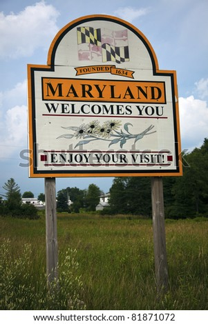 Welcome to Maryland - road sign on the highway