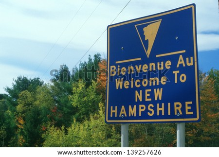 Welcome to New Hampshire Sign - stock photo