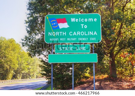 Welcome to North Carolina sign at he state border