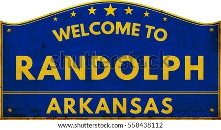 Welcome to RANDOLPH ARKANSAS highway road text sign blue.
