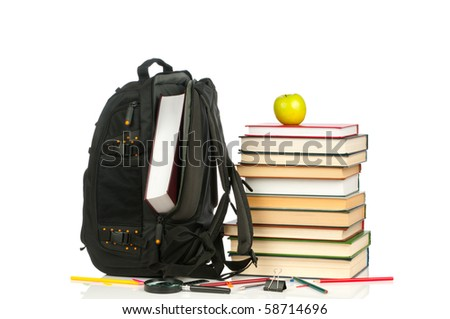 Welcome to school.Backpack and book heap isolated on white background. Concept - stock photo