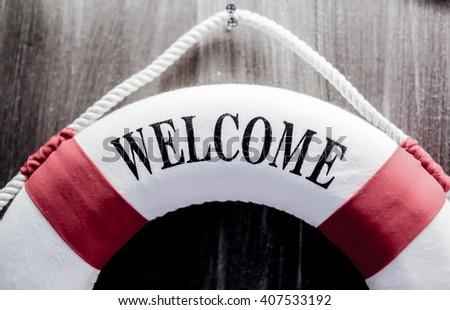welcome word - stock photo