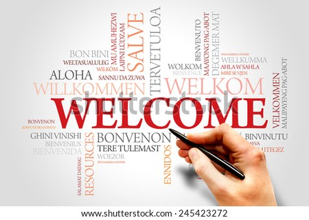 Welcome word cloud in different languages, business concept - stock photo