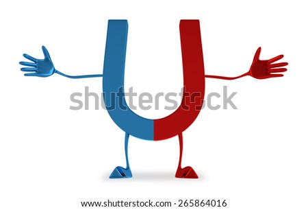 Welcoming blue and red glossy magnet character with open arms isolated on white background - stock photo