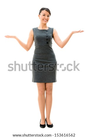 Welcoming business woman with arms open - isolated over white