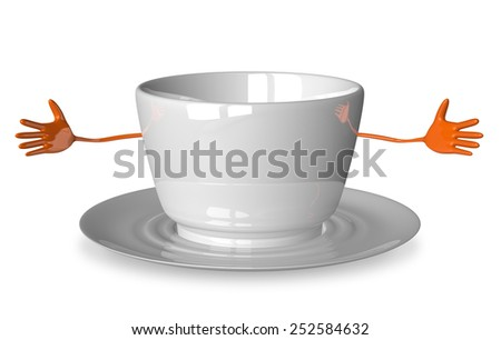 Welcoming empty cup character isolated on white - stock photo
