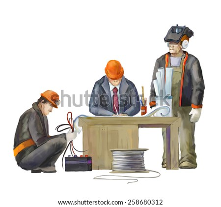 Welder, electrician and architect.  Builders working on construction works illustration - stock photo