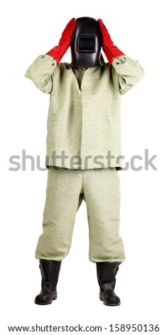 Welder holds his arms on head. Isolated on a white background. - stock photo