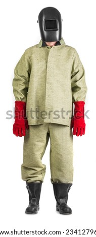 Welder in glasses with mask. Isolated on a white background.  - stock photo