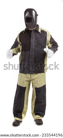 Welder in uniform. Isolated on a white background.