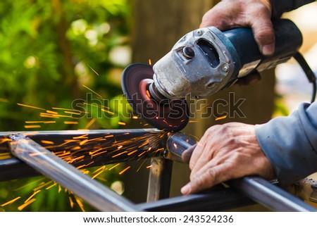 welder mechanic technician, a harmful work - stock photo