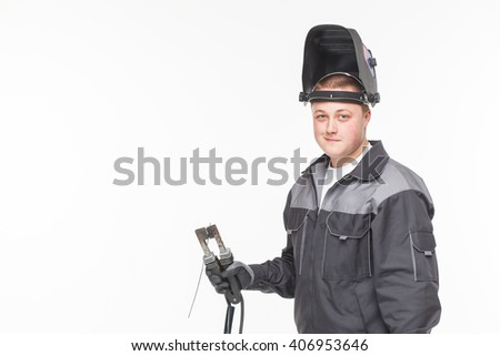 Welder on a white background mask isolated - stock photo