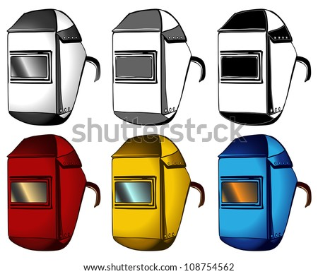 Welder, set of masks in different colors - stock photo