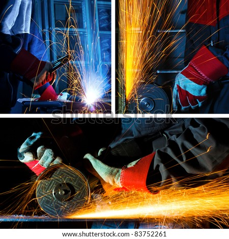 welding and grinding iron collage - stock photo