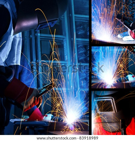 Welding iron collage - stock photo