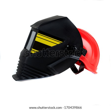 Welding mask and gloves on white background