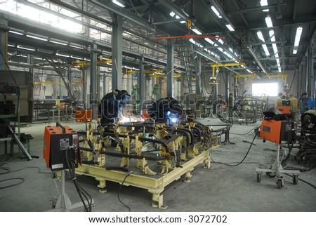 welding operators are working on factory - stock photo