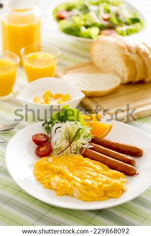 Well-balanced breakfast - stock photo