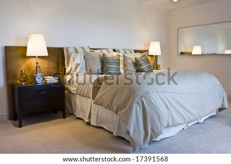 Well decorated, generic looking bedroom with plain walls