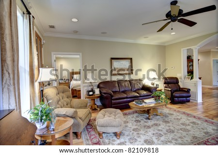 well decorated living room in nice house - stock photo