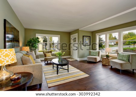 Well decorated living room with hardwood floor, and green yellow theme. - stock photo